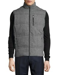 Black Brown Flannel Puffer Vest Grey