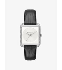 Lake Pave Silver Tone And Embossed Leather Watch