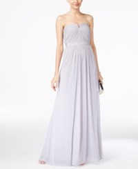 Adrianna Papell Strapless Ruched Gown Silver