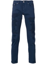 Dondup Distressed Skinny Trousers Blue