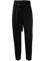 Elisabetta Franchi High Waisted Tie Front Trousers Black
