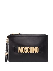 Moschino Logo Embellished Leather Clutch Bag 60