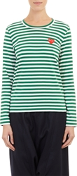 Comme Des Garcons Bar Stripe Long Sleeve T Shirt Green
