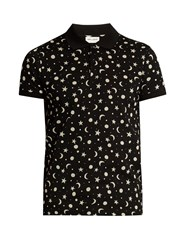 Saint Laurent Star And Moon Print Cotton Pique Polo Shirt Black White
