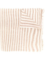 Danielapi Fringed Striped Cashmere Scarf Neutrals