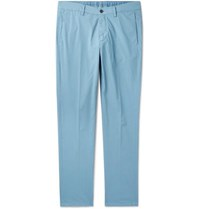 Dunhill Slim Fit Cotton Blend Poplin Chinos Blue