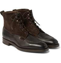 Edward Green Nevis Shearling Lined Cross Grain Leather Boots