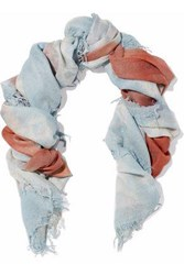 Chan Luu Fringed Printed Cashmere And Silk Blend Gauze Scarf Light Blue