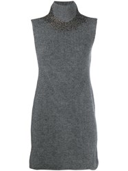 Ermanno Scervino Knitted Sleeveless Dress Grey