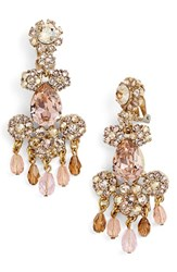 Oscar De La Renta Women's Crystal Flower Chandelier Earrings