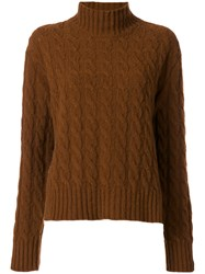 Msgm Turtleneck Cable Knit Jumper Women Polyamide Wool S Brown