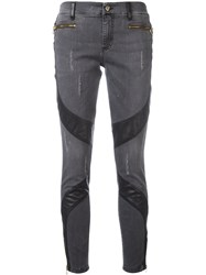 Versace Jeans Ripped Skinny Jeans Black