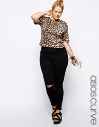 Asos Curve Ridley Super Soft Skinny Jean With Ripped Knees Black
