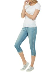 Fat Face Straight Leg Cropped Embroidered Jeans Denim