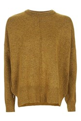 Topshop Tall Zip Side Crew Neck Knitted Jumper Mustard