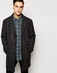 Esprit Dogtooth Wool Overcoat Charcoal