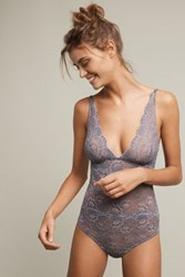 Anthropologie Samantha Chang Lace Bodysuit Wedgewood Blue