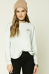 Forever 21 Rainbow Patch Sweater Heather Grey