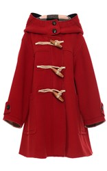 Burberry Oversized Technical Wool Duffle Coat Red