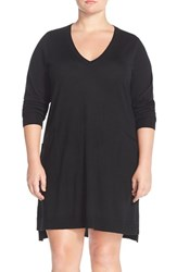 Plus Size Women's Eileen Fisher Lightweight Merino Jersey V Neck Tunic Dress
