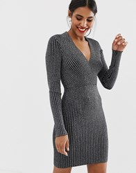 Oasis Wrap Bodycon Dress In Metallic Silver