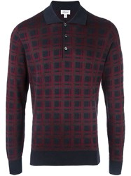 Brioni Plaid Longsleeved Polo Shirt Red