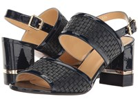 A. Testoni Nappa And Patent Leather Strap Heel Navy Woven Navy Patent