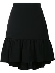 Saint Laurent Pleated Trim Flare Skirt Black