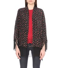 The Kooples Floral Print Silk Blend Kimono Jacket Navy