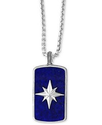 Effy Men's Lapis Lazuli 35 1 2 X 19 1 2Mm Starburst Pendant Necklace In Sterling Silver Blue