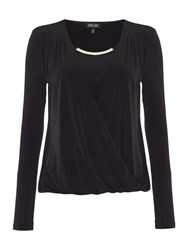 Episode Drape Front Top With Necklace Detail Black