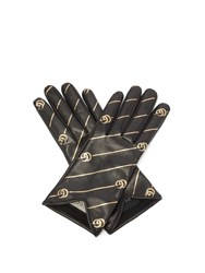 Gucci Printed Leather Gloves Black