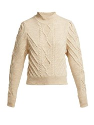 Isabel Marant Brantley Aran Knit Wool Blend Sweater Ivory