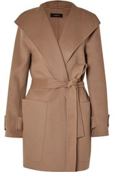 Joseph Lista Belted Wool Blend Coat Camel