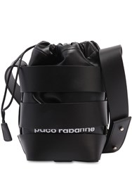 Paco Rabanne Mini Cage Leather Bucket Bag Black