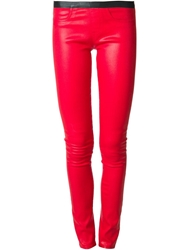 Helmut Lang Waxed Effect Skinny Fit Trousers Red