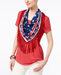Style And Co Petite T Shirt With Printed Fringe Scarf Only At Macy's New Red Amore