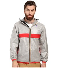 K Way Claude Laminated Hearther Grey Red Trim Men's Clothing Gray