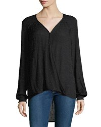 Willow And Clay Embellished Drape Front Blouse Black