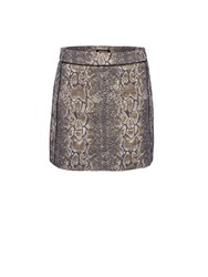 Morgan Snake Printed Jacquard Mini Skirt Gold Metallic