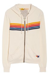 Aviator Nation 5 Stripe Zip Hoodie Vintage White