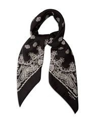 Saint Laurent Paisley Print Silk Scarf Black