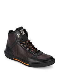 Versace Perforated Leather High Top Sneakers Black Orange