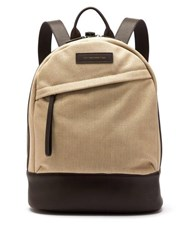 Want Les Essentiels Kastrup Cotton Canvas And Leather Backpack Beige