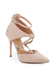 Schutz Dezi Strappy Suede Point Toe Pumps Tan
