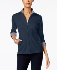 Karen Scott Petite Mock Neck Jacket Only At Macy's Intrepid Blue