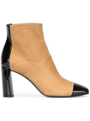 Casadei Two Tone Ankle Boots Nude And Neutrals