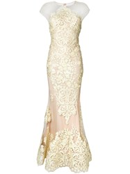 Nedret Taciroglu Couture Embellished Fishtail Gown Yellow Orange