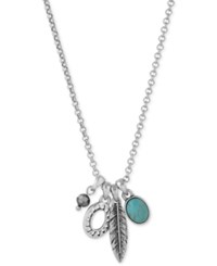 Lucky Brand Silver Tone Mini Charm Pendant Necklace