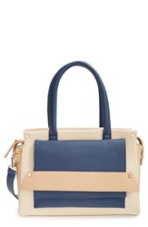 Sole Society Colorblock Vegan Leather Satchel Navy Nude